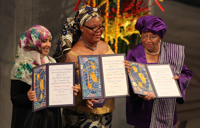 Leymah Gbowee with Tawakkol Karman and Ellen Johnson Sirleaf