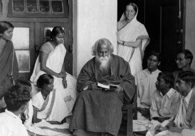 Rabindranath Tagore sitting with a group