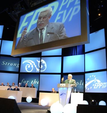 Lech Walesa appearing at the European People's Party in 2008. Photo shared via Wikimedia Commons.
