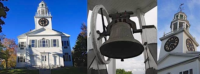 First Church Belfast Maine tower with Quimby clock and Revere bell