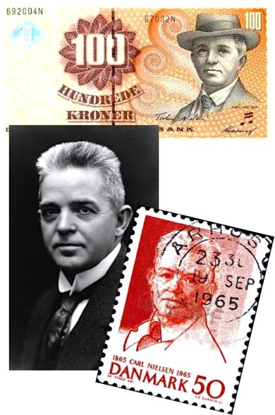 Carl Nielsen photo currency and stamp