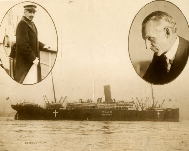 Press photo of the Oscar II Peace Ship with Capt. G. W. Hempel and Henry Ford