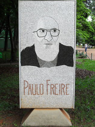 A monument in honor of Paulo Freire at the Ministry of Education in Brazil