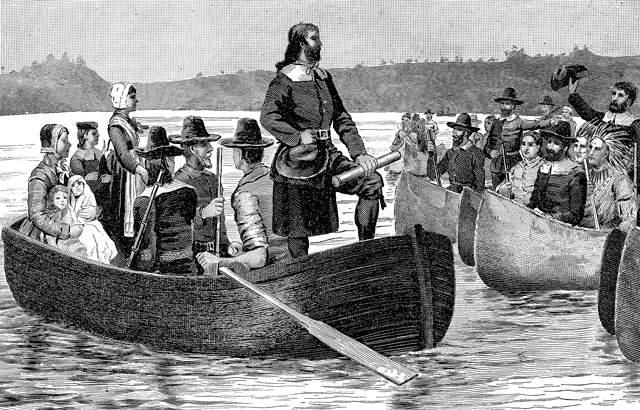 Return of Roger Williams from England with the First Charter, 1644. From a painting by C.R. Grant. Engraving from The Providence Plantations for 250 Years, Welcome Arnold Greene, 1886.