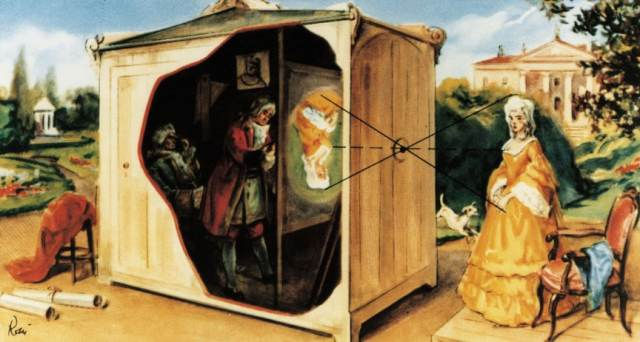 Painting of Early Camera Obscura Room