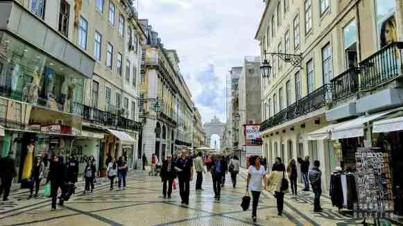 Baixa, widok na Arco da Rua Augusta, Lizbona