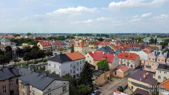 Widok na Łęczycę z zamku, województwo łódzkie