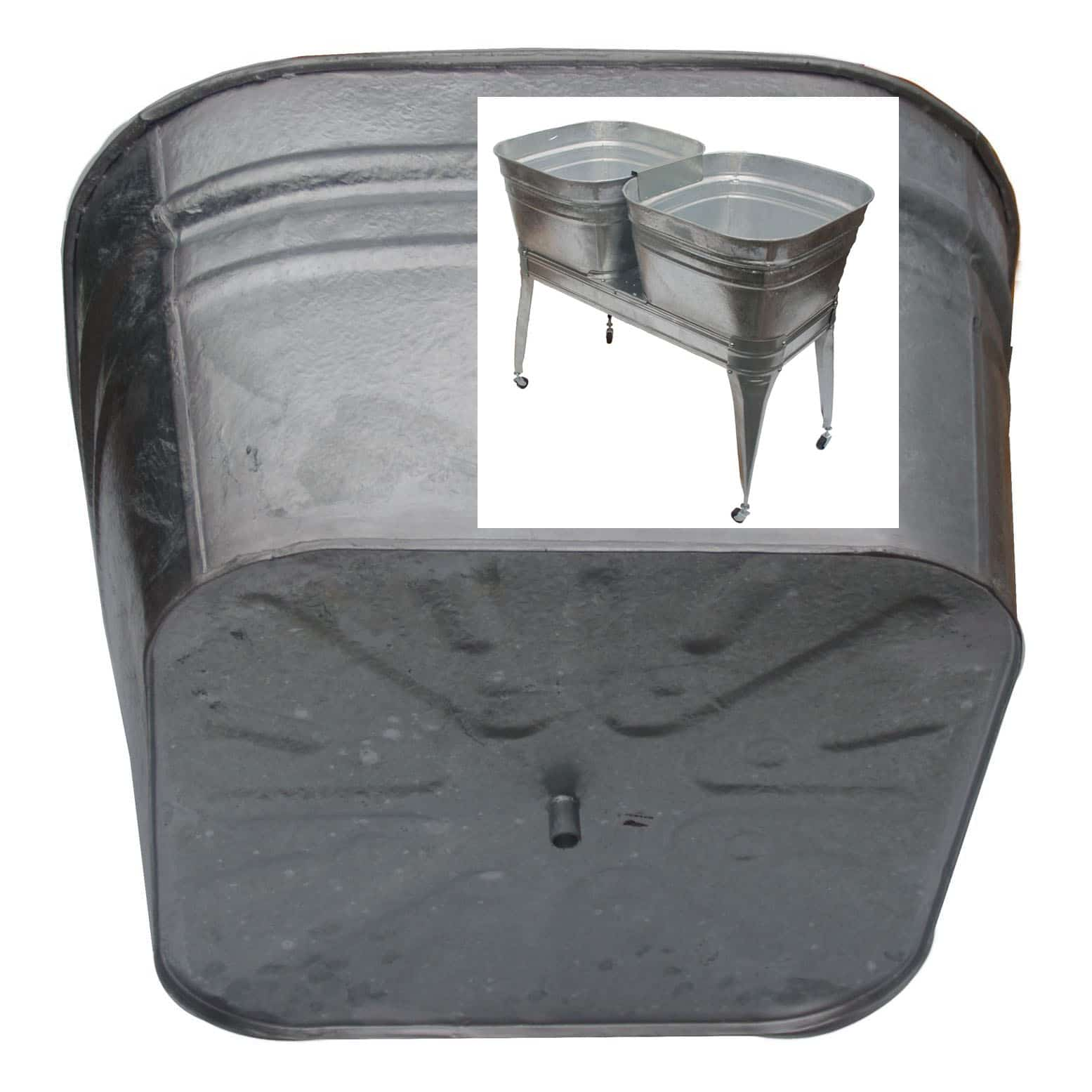 double galvanized laundry sink with stand