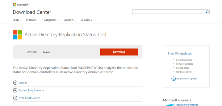 Microsoft AD Replication Status Tool