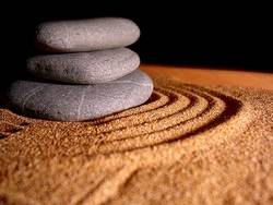 Zen garden, stones and sand - stay calm and maintain a positive mental attitude