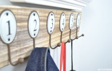 Numbered coat hooks in a row - peg words