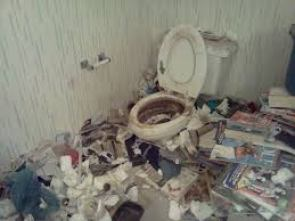 bathroom/toilet in a filth and unsanitary state