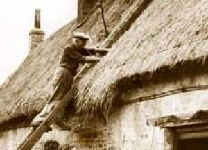 Thatcher thatching a roof - remembering names is easier if you link them to professions or jobs