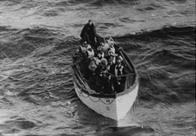 Survivors in one of the Titanic lifeboats