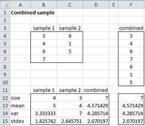 Combined mean variance Excel