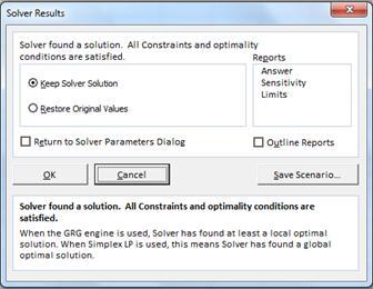 Solver solution confirmation