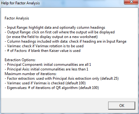 Figure 1 – Factor Analysis Help