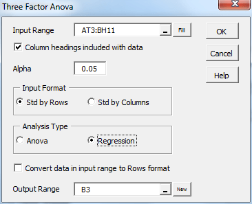 Three factor Anova regression