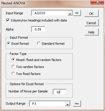Nested ANOVA Dialog Box  Data Analysis Format
