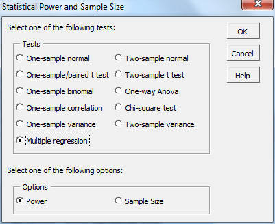 Regression power sample size