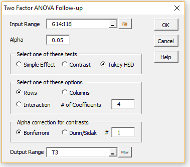 Tukey HSD post Two Factor ANOVA | Real Statistics Using Excel