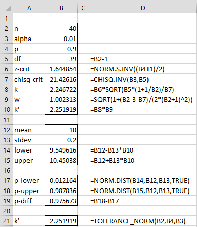 Madison : Tolerance interval calculation excel