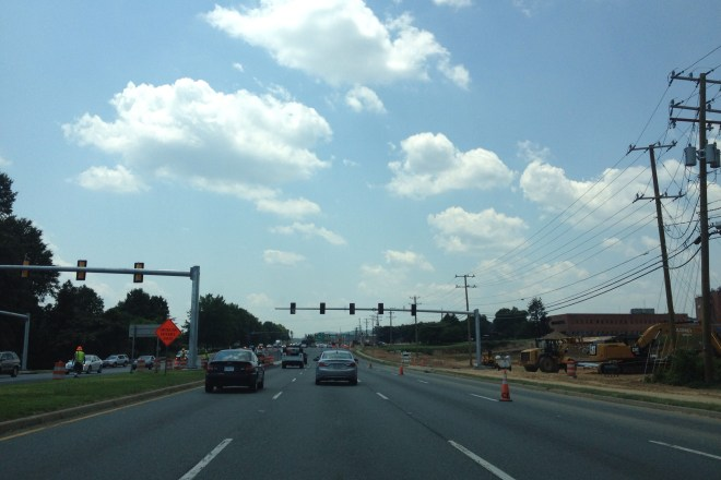 Stoplight at the intersection of Stonefield