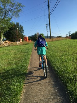 Riding bikes to elementary school in Crozet
