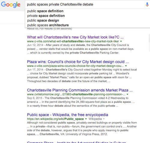 public spaces private Charlottesville debate - Google Search