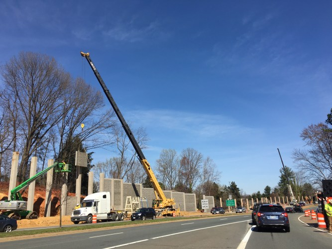Sound barriers going in on 250 in Charlottesville