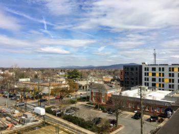 West Main street in Charlottesville, from UVA Hospital Garage