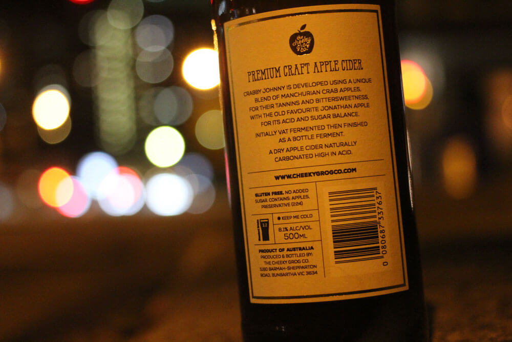 a bottle of Crabby Johnny cder by Cheeky Grog Co