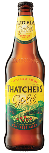 The more common Thatchers Gold Medium Dry Cider Bottle