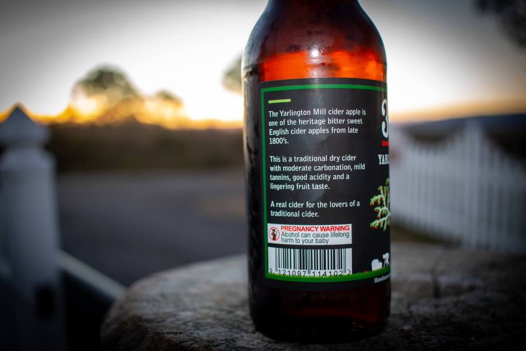 Rear of the bottle of 3 Sons Yarlington Mill Cider