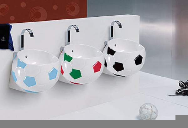 bathroom design with soccer theme