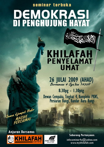 """Hizb ut-Tahrir promotion for Islamic Supremacist Caliphate conference shows """"beheaded"""" Statue of Liberty and """"burning"""" NYC"""