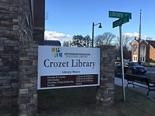 Crozet Library's new sign