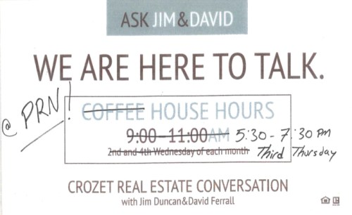 Crozet Real Estate Conversation - at PRN with David Ferrall and Jim Duncan with Nest Realty