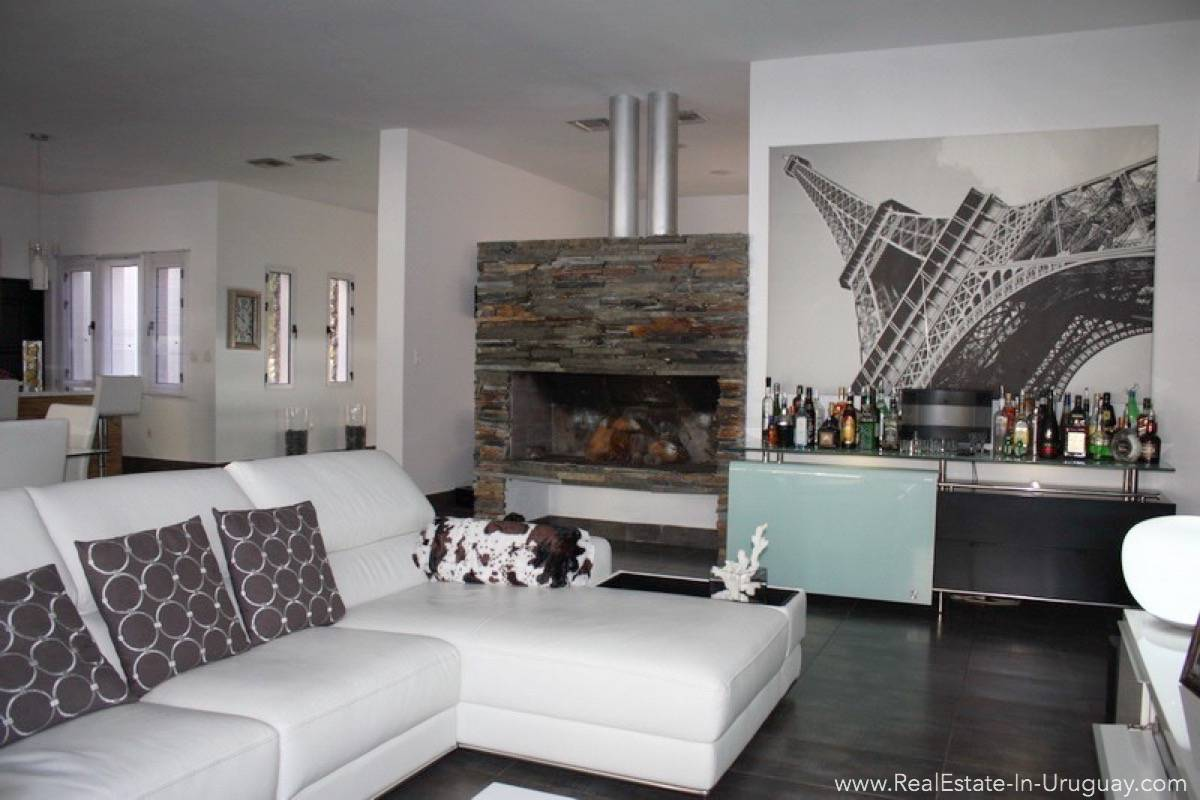 Modern Home in Parque Burnet - Living Room with Fireplace