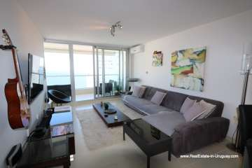 Living of Bright Modern Apartment with Sea Views in Punta del Este