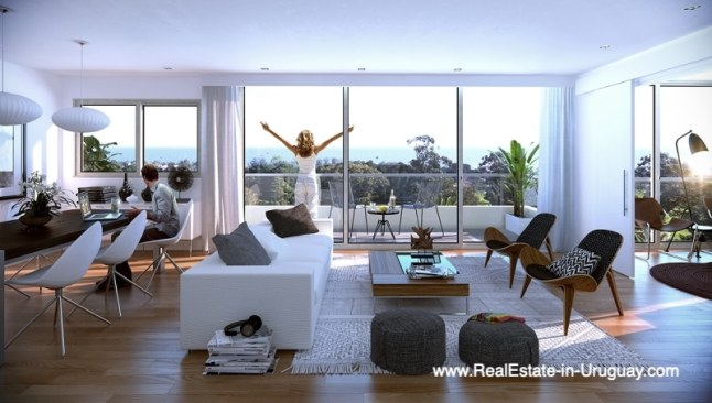 Living of New Apartments by the Golf Course in Punta Carretas in Montevideo
