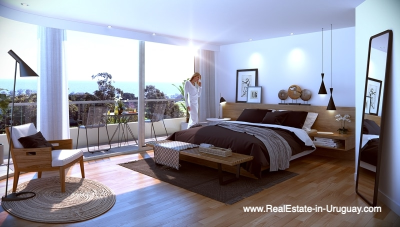 Bedroom of New Apartments by the Golf Course in Punta Carretas in Montevideo