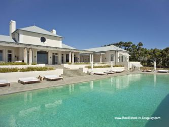 Pool Area of Luxury Country Ranch by Golf Course La Barra outside Punta del Este