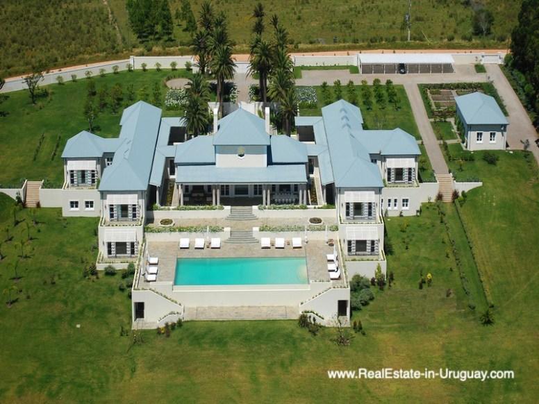 Aerial Shot of Luxury Country Ranch by Golf Course La Barra outside Punta del Este