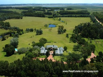 Aerial View of Country Style Ranch near the Golf Course of La Barra on 35 Hectares