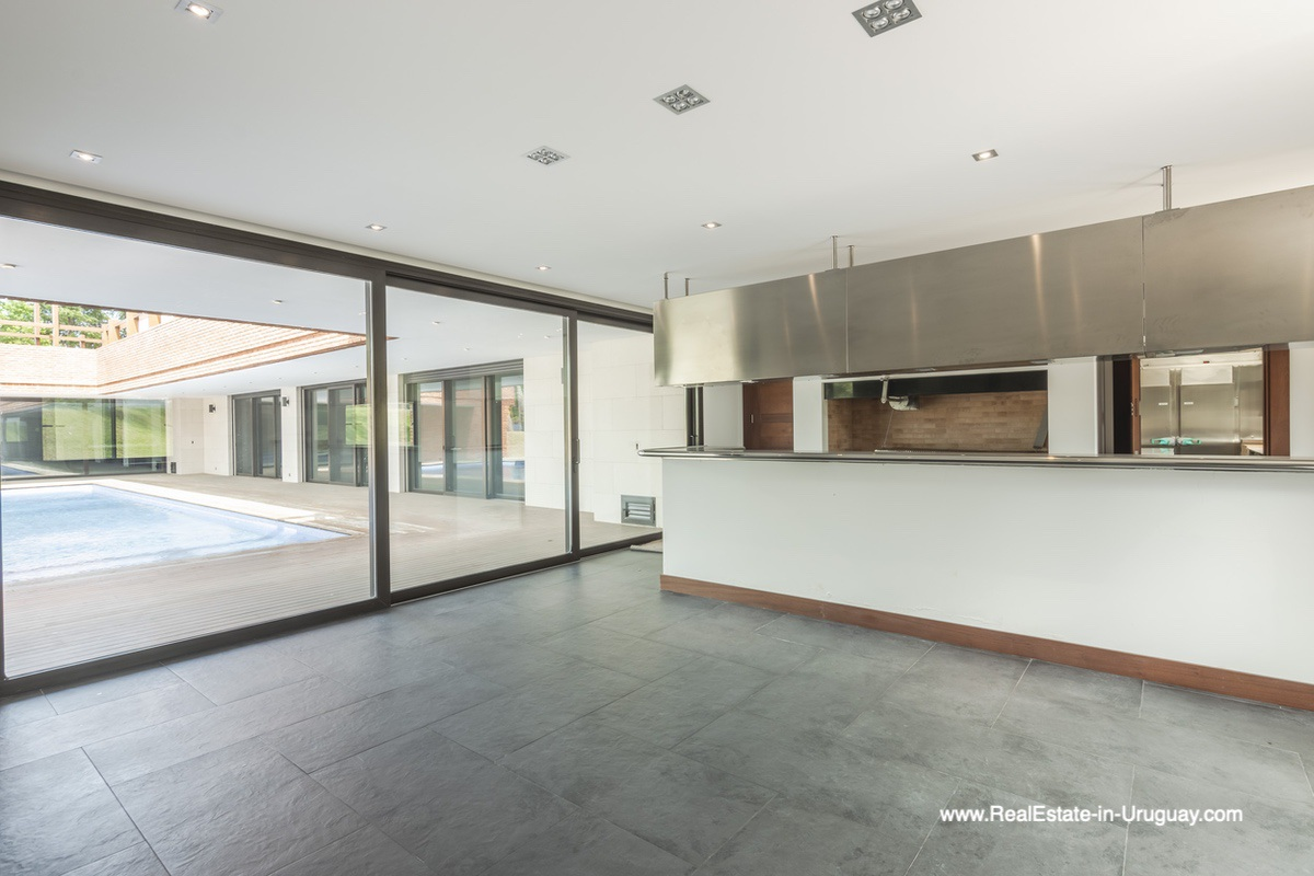 BBQ Room of High-Tech State of the Art and Modern Estate on the Brava Beach in Punta del Este with a large Garden