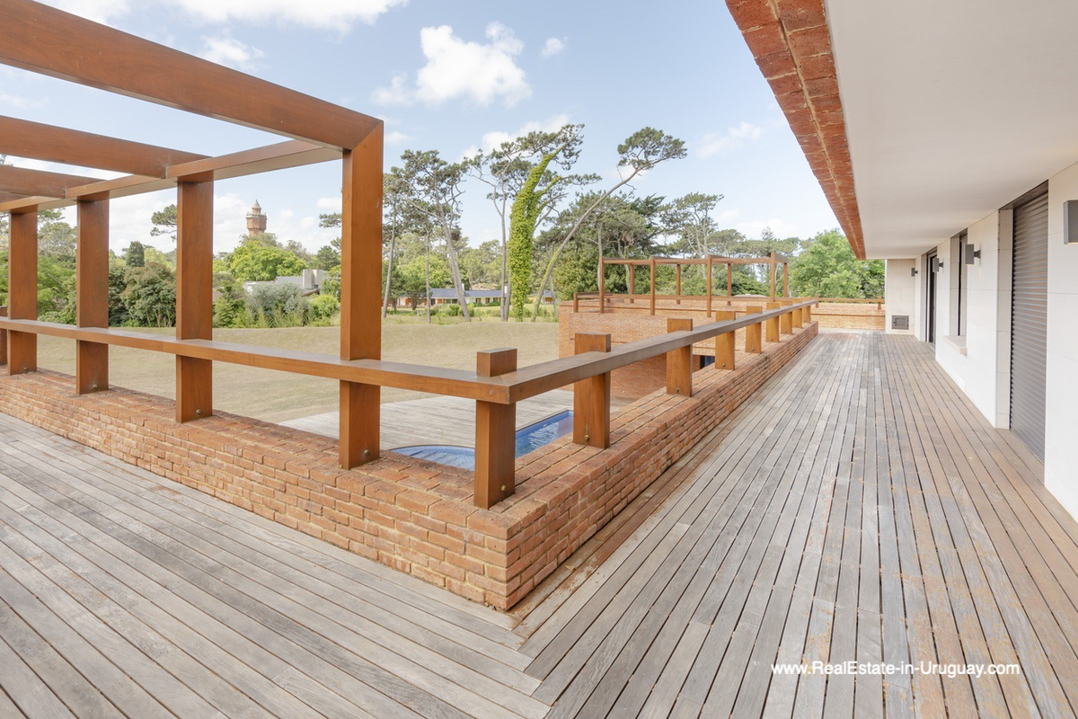 Balcony of High-Tech State of the Art and Modern Estate on the Brava Beach in Punta del Este with a large Garden