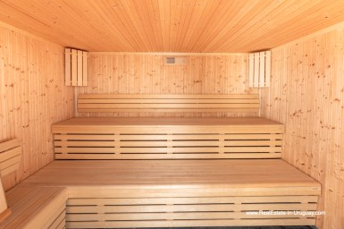 Dry Sauna of High-Tech State of the Art and Modern Estate on the Brava Beach in Punta del Este with a large Garden