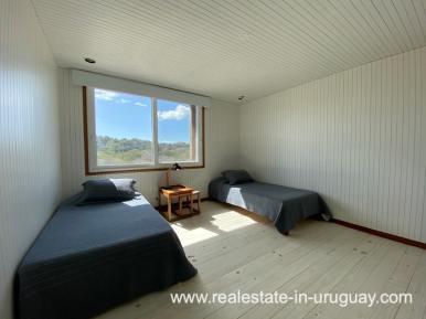 Bedroom of Frontline Beach Home in San Antonio close to La Pedrera in Rocha with Sea Views