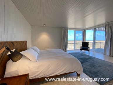 Bed of Frontline Beach Home in San Antonio close to La Pedrera in Rocha with Sea Views
